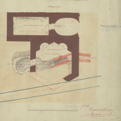 Roman Drawings Collection  - Gusztáv Zsigmondy: Layout of a site on the Hajógyári Island, circa 1870, Aquincum Museum