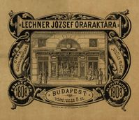 Collection of Maps, Manuscripts and Small Prints - Advertisement of József Lechner's clock shop, printed at the print shop of Mór Deutsch, circa 1890, Kiscell Museum